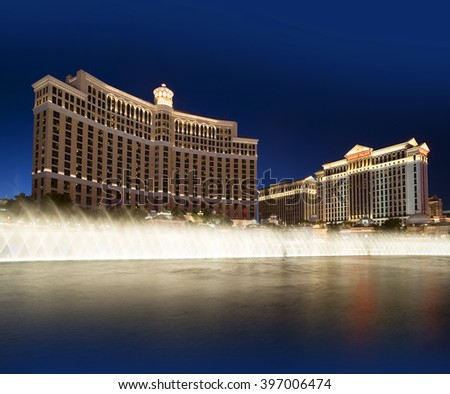 LAS VEGAS, NV, USA - MARCH 24, 2016: Fountain by Bellagio and Caesars palaces  has 1200 dancing fountains, producing on the lake beautiful show of water, lights and music.Las Vegas was founded in 1905
