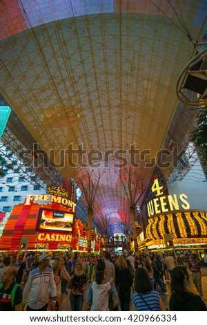 LAS VEGAS, NV/USA - MARCH 25: Fremont Street in Las Vegas on March 25, 2016. The street is the second most famous street in the Las Vegas after the Strip.