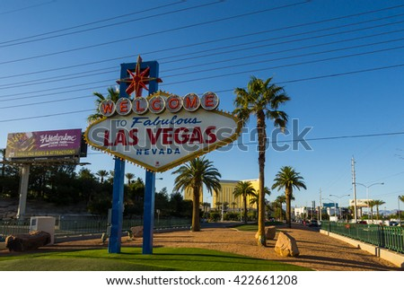 LAS VEGAS, NV/USA - MARCH 25: The famous Las Vegas sign in Las Vegas, NV, USA on March 25, 2016. - stock photo