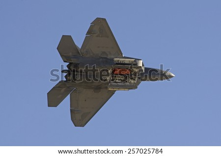 Las Vegas, NV, USA - November 9, 2014: Lockheed Martin F-22 Raptor Nellis Air Force Base, Aviation Nation 2014 airshow