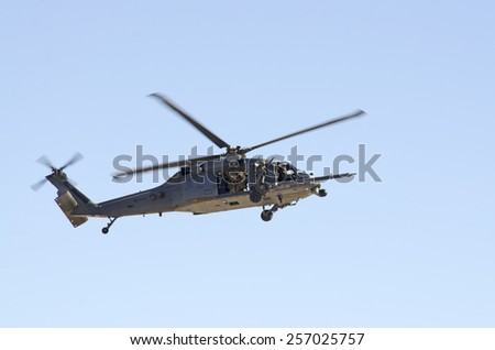 Las Vegas, NV, USA - November 9, 2014: Sikorsky HH-60G Pave Hawk helicopter in a rescue operation, Nellis Air Force Base, Aviation Nation 2014 airshow