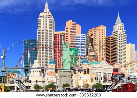 Las Vegas, NV, USA - October 26, 2015: Famous New York New York casino-hotel on October 26, 2015 in Las Vegas . The  hotel recreates the famous New York skyline with a model of the Statue of Liberty - stock photo