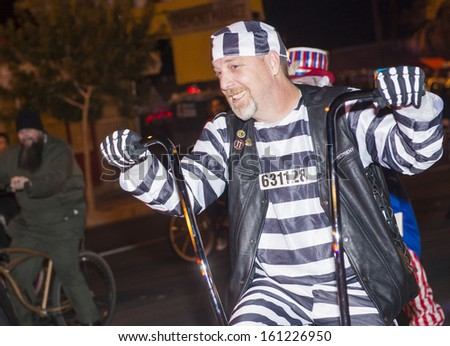 LAS VEGAS - OCT 31 : An unidentified participants at the annual Las Vegas Halloween parade held in Las Vegas , Nevada on October 31 , 2013
