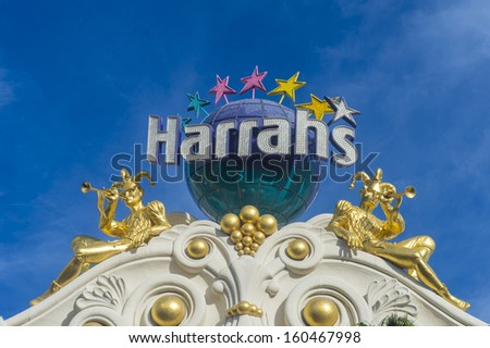 LAS VEGAS - OCT 23 : Harrahs hotel and casino on October 23 , 2013 in Las Vegas.  The hotel has 2,677 rooms and it opened in 1973 - stock photo