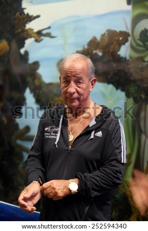 LAS VEGAS -OCT 10: Irwin Raymer, the General, explains how is tanks are manufactured in his factory on October 10, 2014. The General is featured on the reality TV show Tanked. - stock photo