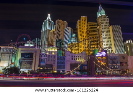 LAS VEGAS - OCT 23 : New York-New York Hotel & Casino in Las Vegas on October 23 2013; This hotel simulates the real New York City skyline and It was opened in 1997. - stock photo