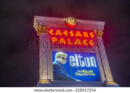 LAS VEGAS - OCT 15 : The Elton John show poster at Ceasars palace hotel on October 15, 2015 in Las Vegas. Elton John sold more than 250 million records worldwide. - stock photo