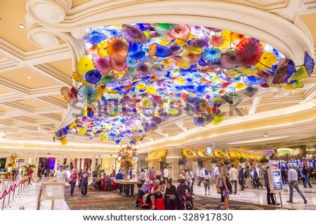 LAS VEGAS - OCT 15 : The interior of Bellagio hotel and casino on October 15, 2015 in Las Vegas. Bellagio is a luxury hotel and casino located on the Las Vegas Strip. The Bellagio opened on 1998. - stock photo