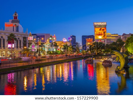 LAS VEGAS - OCT 01 : View of the strip on October 01 , 2013 in Las Vegas. The Las Vegas Strip is an approximately 4.2-mile (6.8 km) stretch of Las Vegas Boulevard in Clark County, Nevada. - stock photo