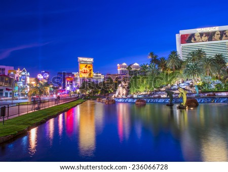LAS VEGAS - OCT 22 : View of the strip on October 22 2014 in Las Vegas. The Las Vegas Strip is an approximately 4.2-mile (6.8 km) stretch of Las Vegas Boulevard in Clark County, Nevada. - stock photo