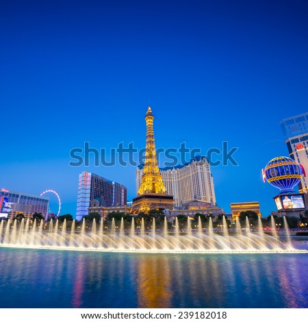 LAS VEGAS - OCT 29 : View of the strip on October 29, 2014 in Las Vegas. The Las Vegas Strip is an approximately 4.2-mile stretch of Las Vegas Boulevard in Clark County, Nevada. - stock photo