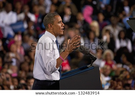 LAS VEGAS - OCTOBER 24: Barack Obama speaking at a campaign rally at Doolittle Park on October 24, 2012 in Las Vegas, Nevada
