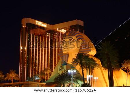 LAS VEGAS - OCTOBER 29: Luxor Las Vegas Great Sphinx Replica and the Mandalay Bay Resort and Casino on October 29, 2011 in Las Vegas. Luxor opened in 1993 and Mandalay Bay opened in 1999. - stock photo