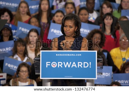LAS VEGAS - OCTOBER 26: Michelle Obama speaks at President Obama`s campaign rally on October 26, 2012 at Orr Middle School in Las Vegas, Nevada. - stock photo