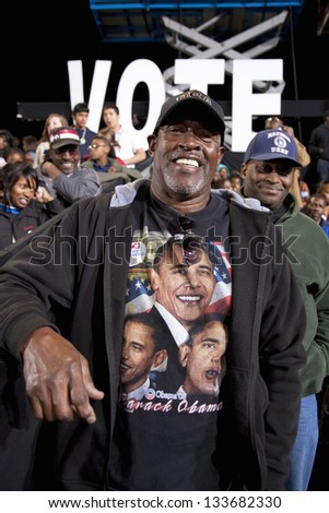 LAS VEGAS - OCTOBER 24: Supporter of Barack Obama on a Presidential Election campaign rally on October 24, 2012 in Las Vegas, NV - stock photo