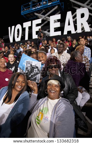 LAS VEGAS - OCTOBER 24: Supporters of Barack Obama on a Presidential Election campaign rally on October 24, 2012 in Las Vegas, NV - stock photo