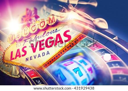 Las Vegas Roulette and Slot Games. Vegas Gambling Concept. - stock photo