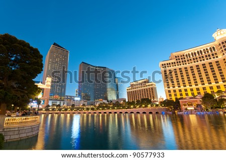 Las Vegas - 11 Sep 2010  - Bellagio Hotel Casino during sunset - stock photo