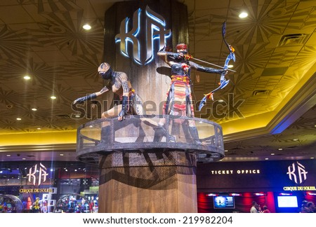 LAS VEGAS - SEP 18 : KA at the MGM hotel in Las Vegas on September 18 2014. KA is a Cirque du Soleil stage production written and directed by Robert Lepage. - stock photo