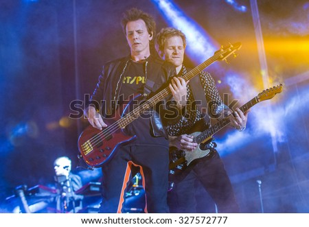 LAS VEGAS - SEP 26 : Musicians John Taylor (L) and Roger Taylor of Duran Duran perform onstage during day 2 of the 2015 Life Is Beautiful Festival on September 26, 2015 in Las Vegas, Nevada.
