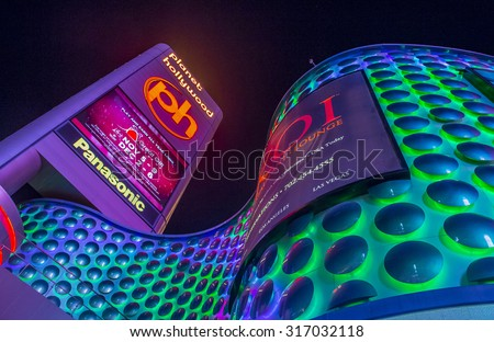 LAS VEGAS - SEP 03 : Planet Hollywood Resort and Casino in Las Vegas, Nevada on September 03 2015. Planet Hollywood has over 2,500 rooms available and it located on Las Vegas Boulevard. - stock photo
