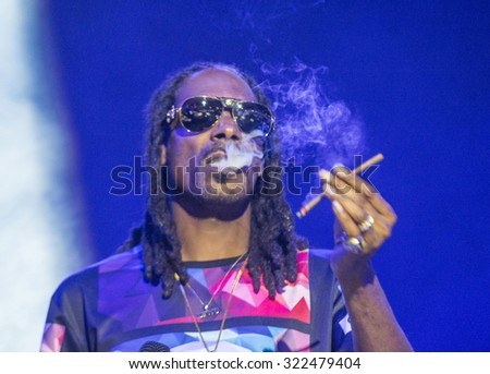 LAS VEGAS - SEP 26 : Rapper Snoop Dogg performs onstage during day 2 of the 2015 Life Is Beautiful Festival on September 26, 2015 in Las Vegas, Nevada. - stock photo