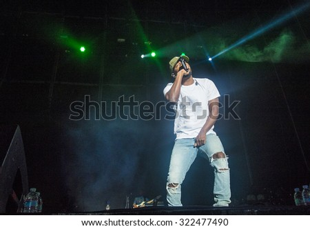 LAS VEGAS - SEP 27 : Recording artist Kendrick Lamar performs onstage during day 3 of the 2015 Life Is Beautiful Festival on September 27, 2015 in Las Vegas, Nevada.
