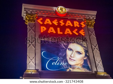 LAS VEGAS - SEP 03 : The Celine Dion show poster at Ceasars palace hotel on September 03, 2015 in Las Vegas. Celine has a tree-year contract to play 70 shows annually at the Caesars Palace Colosseum - stock photo