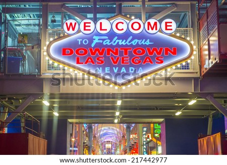 LAS VEGAS - SEP 05 : The Fremont Street Experience on September 05 , 2014 in Las Vegas, Nevada. The Fremont Street Experience is a pedestrian mall and attraction in downtown Las Vegas