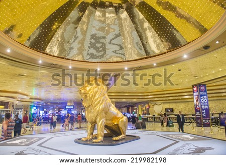 LAS VEGAS - SEP 18 : The interior of MGM hotel and casino on September 18, 2014 in Las Vegas. The MGM Grand is the third largest hotel in the world and the largest hotel resort complex in the USA - stock photo
