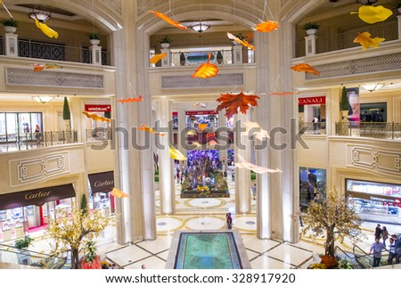 LAS VEGAS - SEP 10 : The interior of the Venetian hotel & Casino in Las Vegas on September 10 , 2015. With more than 4000 suites it's one of the most famous hotels in the world. - stock photo