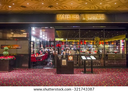 LAS VEGAS - SEP 03 : The Joel Robuchon restaurant in MGM hotel in Las Vegas on September 03 2015. The restaurant  has been rated 3 stars by the Michelin Guide