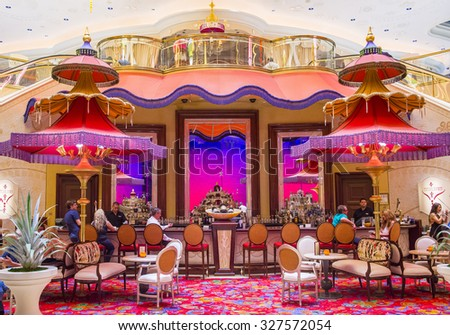 LAS VEGAS - SEP 10 : The Parasol Down bar at the Wynn Hotel and casino in Las vegas on September 10 2015. The Wynn hotel has 2,716 rooms and it opened in 2005. - stock photo