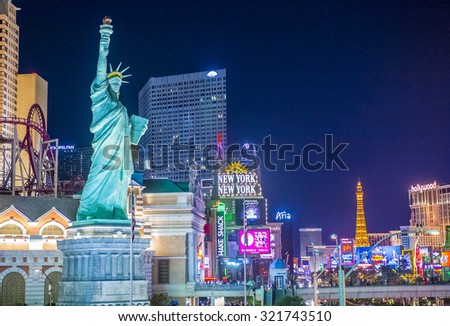 LAS VEGAS - SEP 03 : View of the strip in Las Vegas on September 03 2015. The Las Vegas Strip is an approximately 4.2-mile (6.8 km) stretch of Las Vegas Boulevard in Clark County, Nevada.