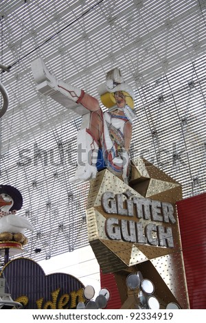 LAS VEGAS - SEPTEMBER 17: Famous Glitter Gulch Strip Club on September 17, 2008 in Las Vegas, Nevada. The club offers adult entertainment in downtown Las Vegas, under the Fremont Street Experience. - stock photo