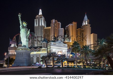 LAS VEGAS - SEPTEMBER 8: New York-New York hotel casino with a replica of New York City skyline with skyscraper towers and Statue of Liberty on September 8, 2010 in Las Vegas, Nevada, USA