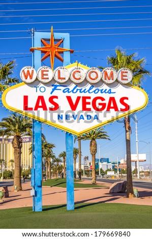 Las Vegas sign on the Strip - stock photo