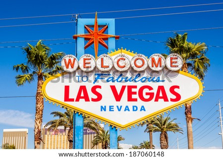 Las Vegas sign. Welcome to Fabulous Las Vegas, Nevada sign.  - stock photo