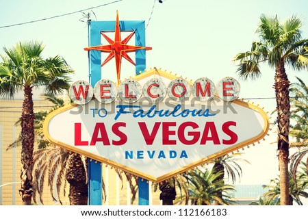 Las Vegas sign. Welcome to Fabulous Las Vegas, Nevada sign. Retro vintage style.