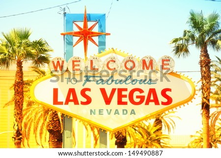 Las Vegas sign. Welcome to Fabulous Las Vegas sign, Nevada. Vintage retro style with warm glowing sun sunshine.