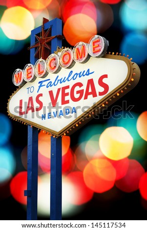 Las Vegas Sign with light bokeh background - stock photo