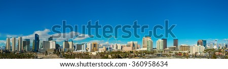Las Vegas skyline from a distance during day time - stock photo