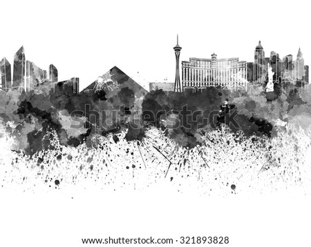 Las Vegas skyline in black watercolor - stock photo
