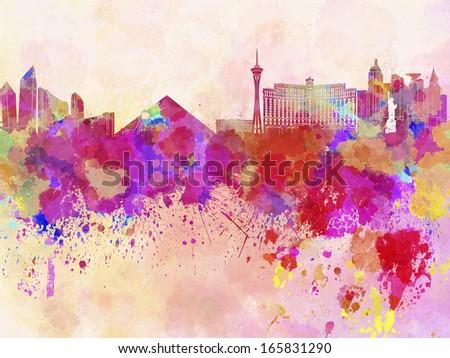 Las Vegas skyline in watercolor background - stock photo