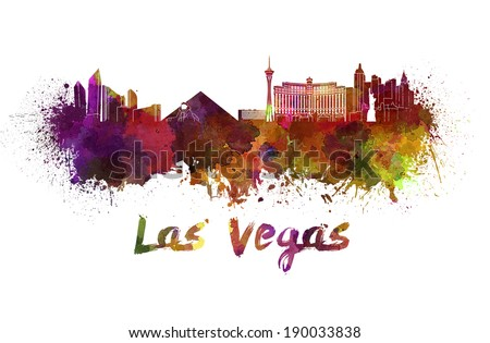 Las Vegas skyline in watercolor splatters with clipping path - stock photo