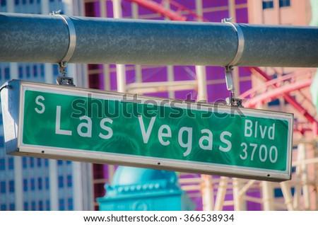 Las Vegas street sign on summer day - stock photo