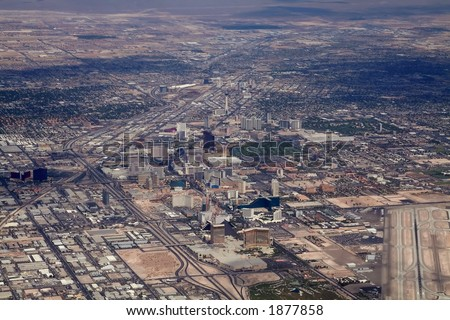 las vegas strip aerial view - stock photo