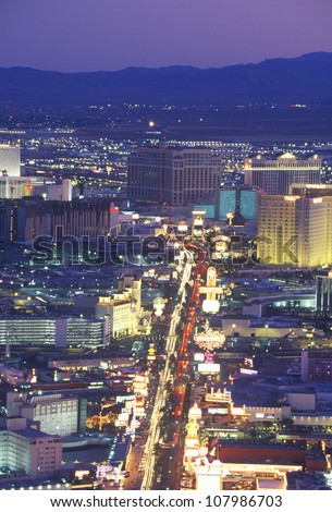 Las Vegas Strip at night from the Stratosphere Tower, Nevada