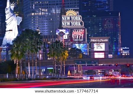 Las Vegas Strip at Night in Summer 2013. Las Vegas Boulevard in Motion. Nevada, United States of America