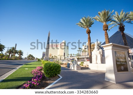 Las Vegas, United States - March 27, 2015: Vegas boulevard and Luxor hotel obelisk  - stock photo